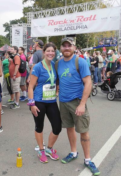 Angel Miller, with husband Jim, 2017 Philly Rock 'n' Roll Half Marathon