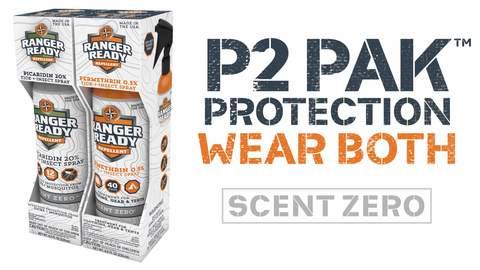 ranger ready p2 pak: permethrin clothing-worn tick repellent and body-worn picaridin repellent
